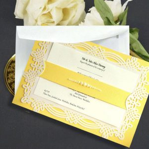10 april gold & pearls personalised invitation with printed inserts
