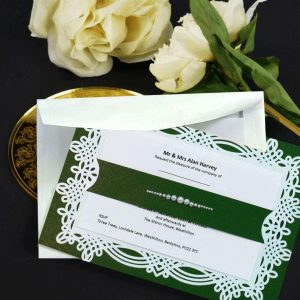 10 april Gardeners Green & pearls personalised invitation with printed inserts