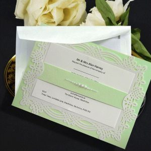 10 april mint green & pearls personalised invitation with printed inserts
