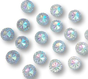 Positano AB Clear round with mini crystals flat backed 12 mm Multi faceted