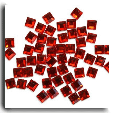 Red Square Crystals 6mm. 100 Per Pack