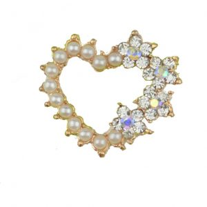 10 Pearl & Diamante Heart set in Rose Gold Embellishment - Limited Edition