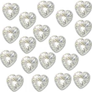40 Self Adhesive Acrylic Hearts Embossed Mini Crystals 12x10 mm