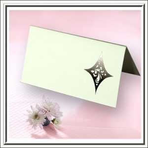 Black and White Printed Detail Wedding Name Place Cards