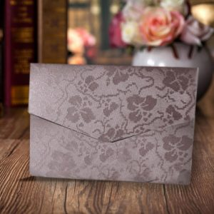 Chocolate Broderie A6 Pocketfold Invitations