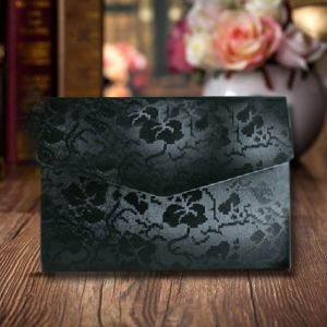 10 Black Broderie Floral Embossed A6wedding Pocketfolds