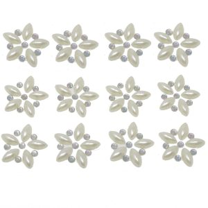 Florence Pearl & AB Crystal Self Adhesive Flowers 12per sheet