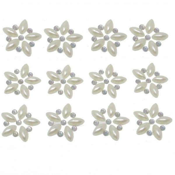 Florence Pearl & AB Crystal Self Adhesive Flowers 12per sheet