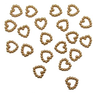 Gold Pearl Heart Shape Bead Double Sided 11mm. Pack of 50 Beads
