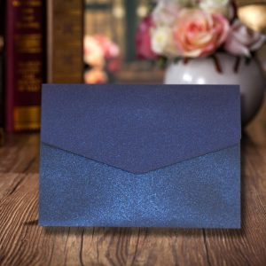 10 Kings Blue Pearlescent A6 Pocketfold wedding Invitations