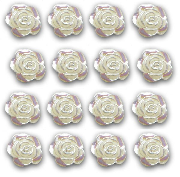 Mini Pearl Rose Flat Backed Resin Embellishments. Pack of 50 Beads