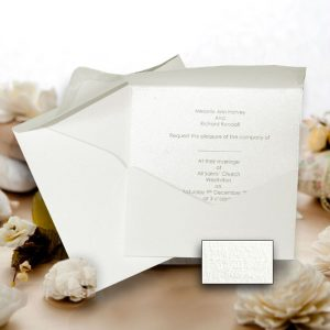 10 JAYANTI Square White Silkweave Wedding Pocketfold (Portrait) NO Flap