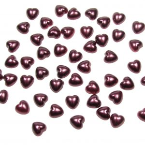 Burgundy Pearl Heart Shape Beads Flat Backed. Pack of 50 Beads