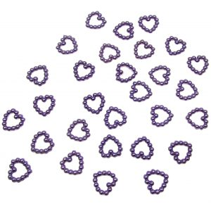 Purple Pearl Heart Shape Bead Double Sided 11mm. Pack of 50 Beads
