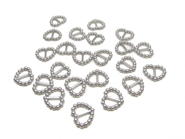 Silver Pearl Heart Shaped Ribbon Slider Buckles. Pack of 50 Beads