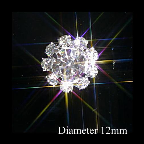 Small Round Diamante Embellishments Large Centre Rhinestone 12mm
