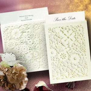 10 BLANCO BELLO Petals White Mini Floral Pearlised Laser Cut Wallets