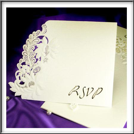Floral Embossed Wedding RSVP Cards