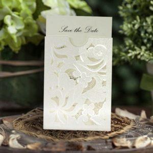 10 FLORENTINA Floral Ivory Pearlescent Laser Cut Mini Wallets