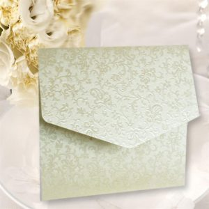 10 Ivory Applique Square Pocketfold Invitations