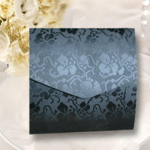 10 Black Broderie Square Wedding Pocketfold Invitations