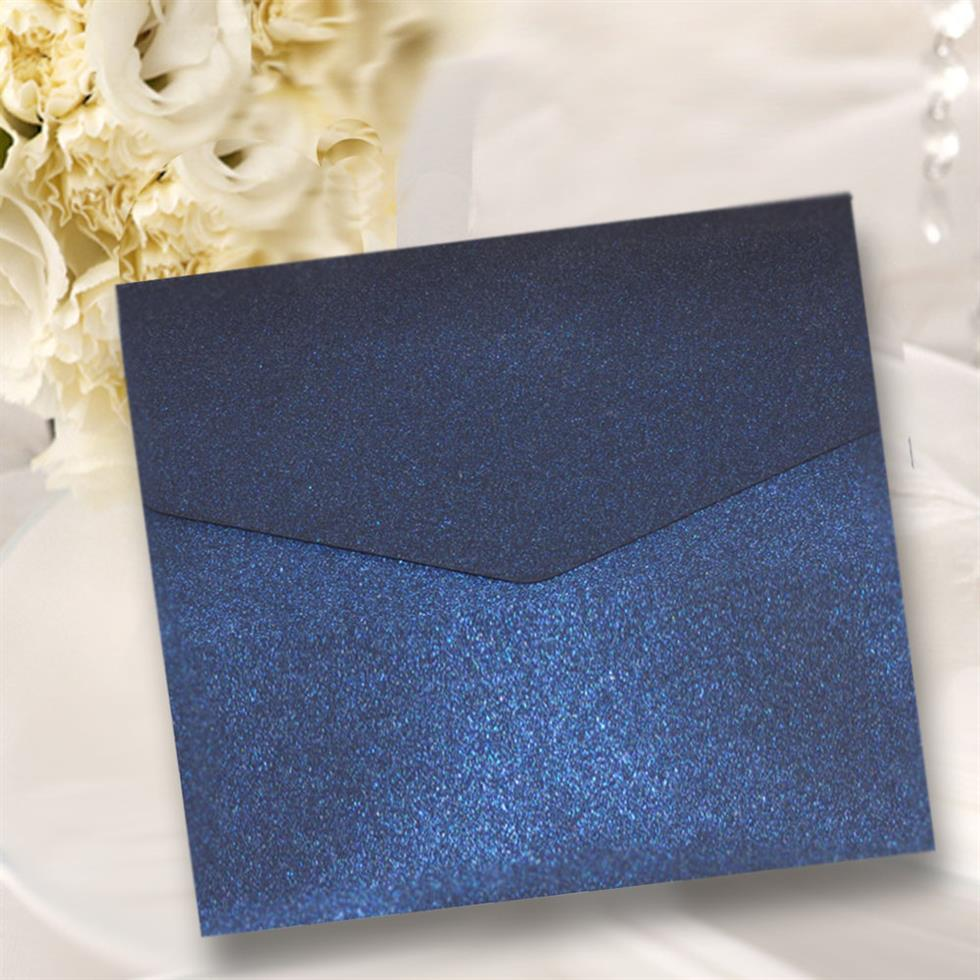Kings Navy Blue Shimmer Square Pocketfold Invitations