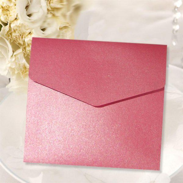 10 Azalea Pink Square Pocketfold Invitations