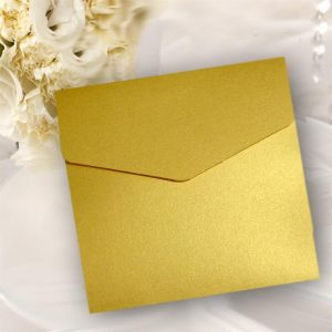 Gold Pearlised Square Pocketfold Invitations