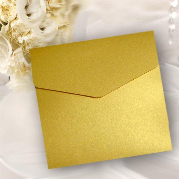 10 Gold Pearlised Square Pocketfold Invitations