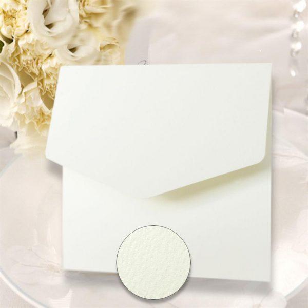 10 White Textured Square Pocketfold Invitations