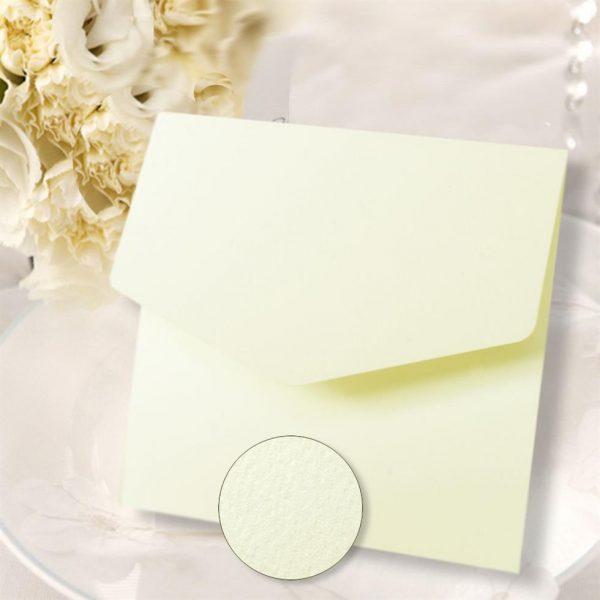10 Ivory Textured Square Wedding Pocketfold Invites
