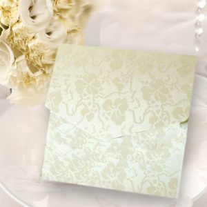 Ivory (Off White) Broderie Square Pocketfold Invitations