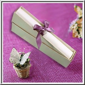 Ivory (Off White) Broderie Wedding Scroll Box Invitations