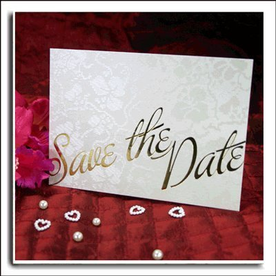 Ivory (Off White) Broderie Save The Date Wedding Cards