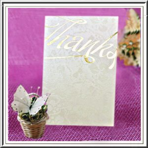 Ivory (Off White) Broderie Embossed 'Thanks' Cards