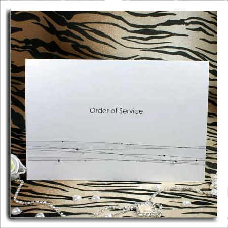Silver Strands and Diamante Order of Service/Wedding Programs