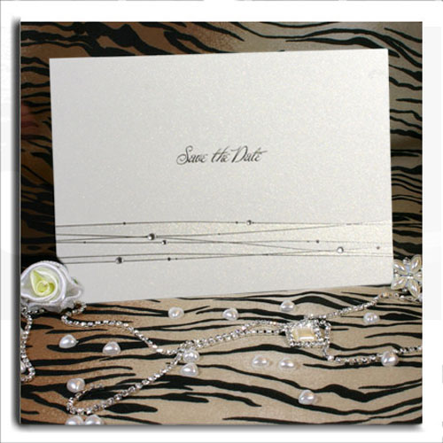 Silver Strands and Diamante Save the Date Cards For Weddings