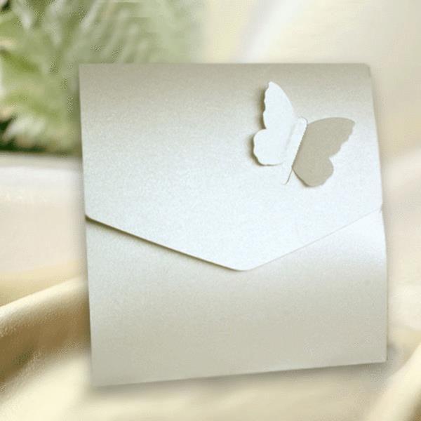 10 White Brushed Silk Effect Butterfly Wedding Pocketfold Invitations.