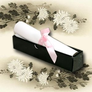5 Black Broderie Wedding Scroll Box Invitations