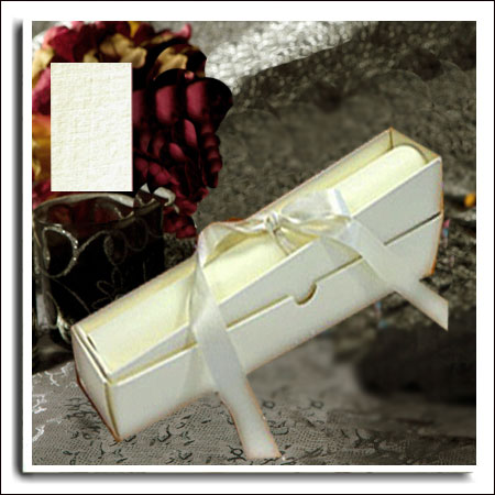 Ivory Linen DIY Wedding Scroll Box Invitations With A4 Paper