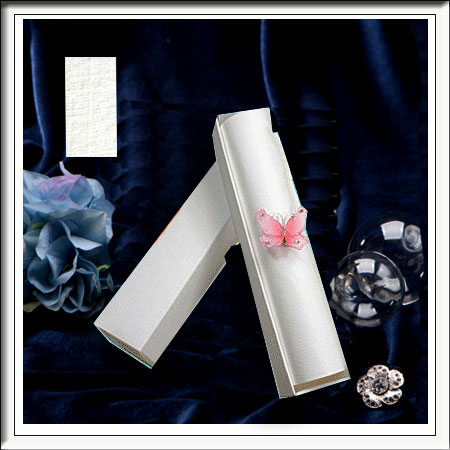 5 White Linen Wedding Scroll Box Invitations With A4 Paper Inserts
