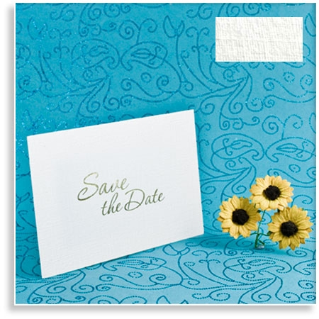 White Linen Wedding Save the Date Cards