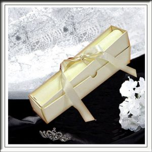 5 Classic Ivory Wedding Scroll Box Invitations