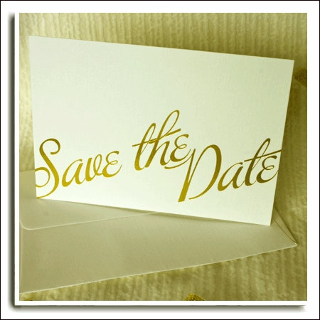 Ivory Textured Wedding Save The Date Cards