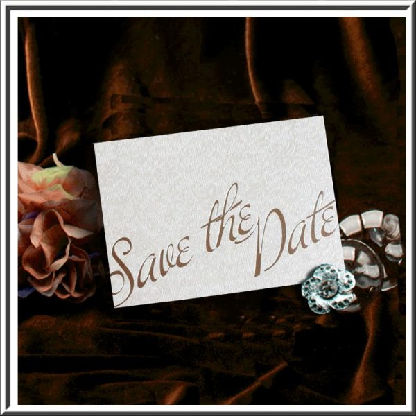 10 Ivory (Cotton White) Applique Wedding Save the Date Card
