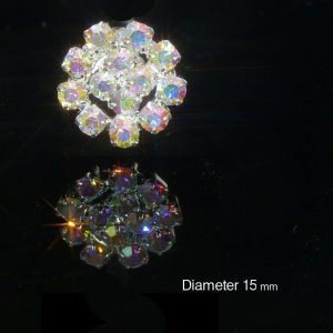 10 Small Round AB Rainbow Rhinestone Diamante Embellishments