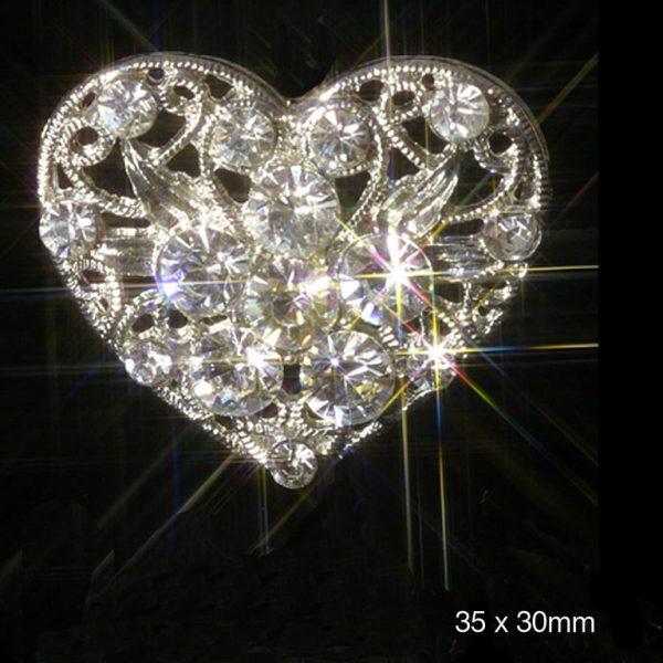 10 Filigree Heart Rhinestone Crystal Diamante Embellishments