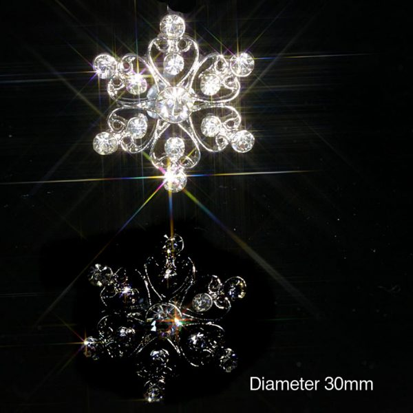 10 Filigree Flower Diamante Embellishments With Rhinestone Crystals