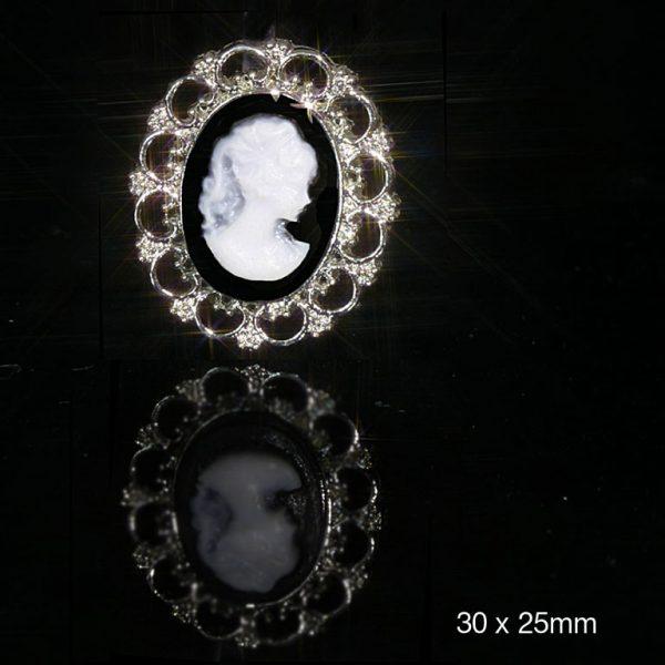 10 Oval Cameo Embellishemnt Black and White Flat Back Embellishment