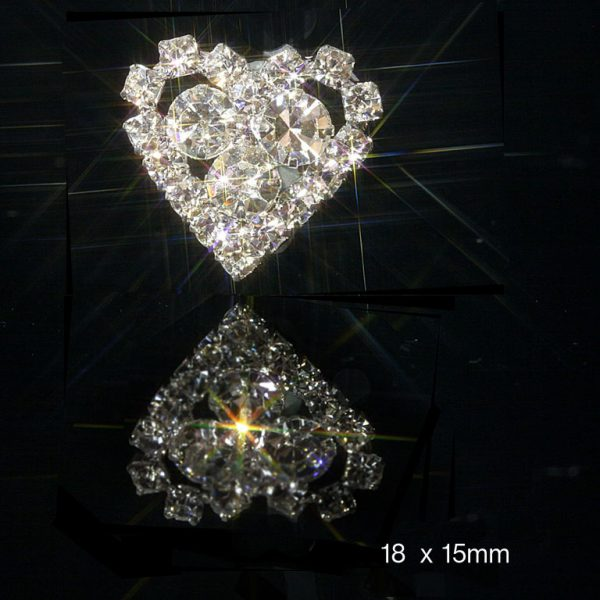 10 Small Heart Diamante Embellishments with 3 Centre Rhinestones